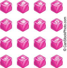 cubo, serie, e-commercio, set, sicurezza, icona