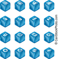 cubo, serie, set, browser internet, email, icona