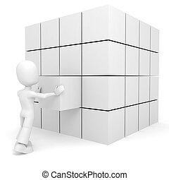 cubo, spinta, posto, 3d, relativo, uomo