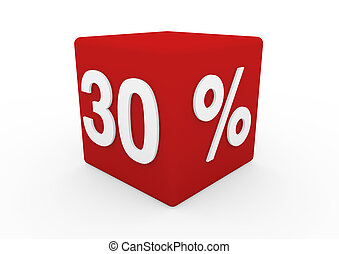 cubo, trenta, vendita, bianco rosso, 3d