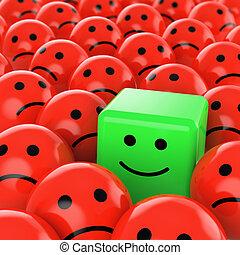 cubo, verde, smiley, felice