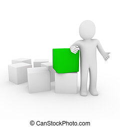 cubo, verde, umano, 3d