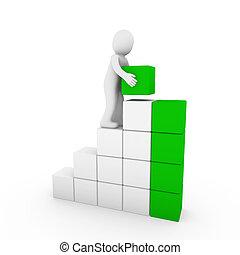 cubo, verde, umano, torre, bianco, 3d