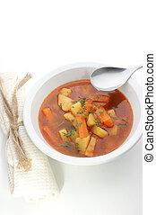 cucchiaio zuppa, ciotola, bianco, patata