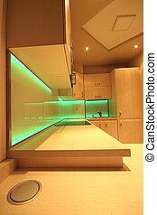 cucina, fatto, lusso, arredamento, vetro, retroilluminato, moderno, condotto, rgb, costume