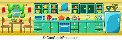 cucina, interior.