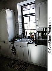 cucina, luce, condotto, moderno, rubinetto