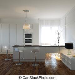 cucina, lussuoso, gabinetto
