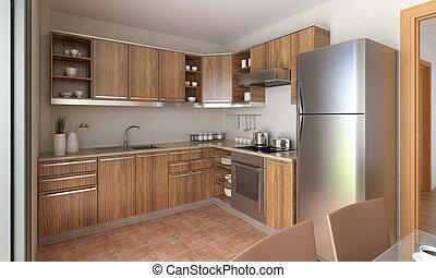 cucina, moderno, disegno