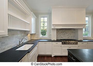 cucina, nero, countertops