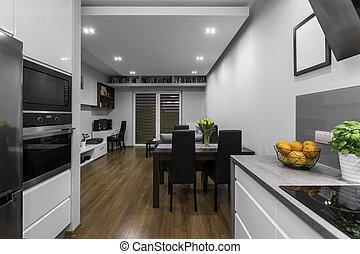 cucina, stanza, vivente