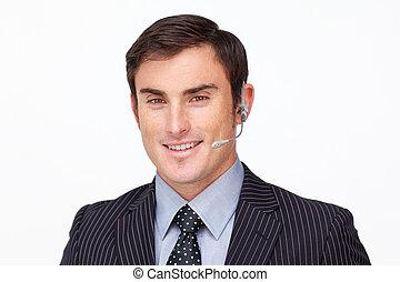 cuffia, attraente, uomo affari