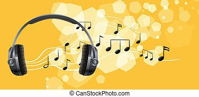 cuffia, note, musicale