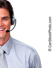 cuffia, sorridente, rappresentante, assistenza clienti