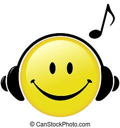 cuffie, nota, musicale, felice, musica