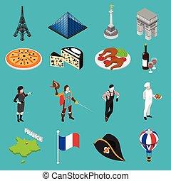 cultura, collezione, icone, francese, isometrico, tradizioni