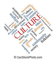 cultura, concetto, parola, nuvola, angolato