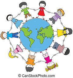 culture, differente, bambini