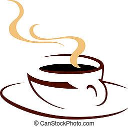 cuocere vapore caffè, caldo, aromatico, tazza