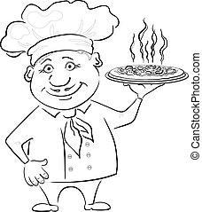 cuoco, caldo, prese, pizza, contorno