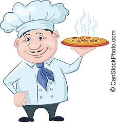 cuoco, caldo, prese, pizza