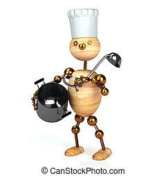 cuoco, legno, uomo