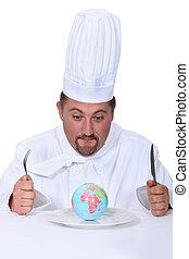 cuoco, piastra, globo