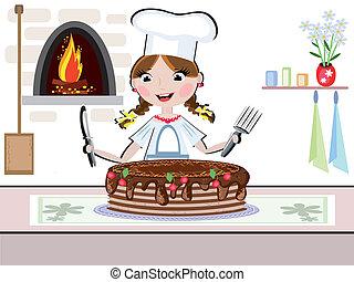 cuoco, ragazza