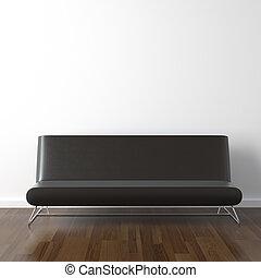 cuoio, bianco, nero, divano