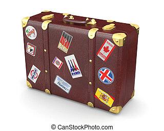 cuoio, marrone, viaggiare, adesivi, valigia