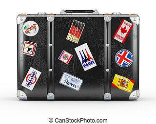 cuoio, viaggiare, stickers., nero, valigia