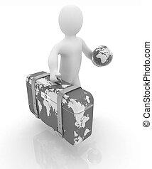 cuoio, viaggiare, valigia, terra, 3d, uomo