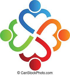 cuore, 4, logotipo, squadra, vettore