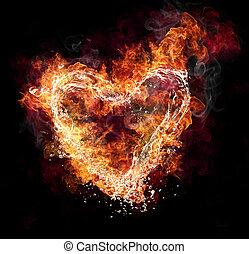 cuore, acqua fuoco, forma, sfondo nero
