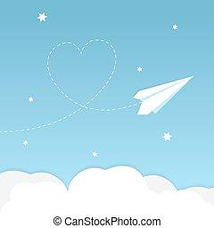 cuore, aeroplano, carta, fondo