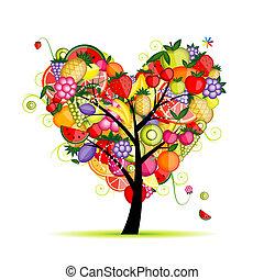 cuore, albero, tuo, frutta, disegno, energia, forma
