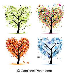cuore, albero, tuo, primavera, stagioni, winter., -, autunno, estate, arte, quattro, disegno, forma
