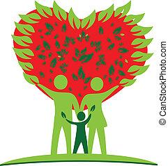cuore, amore, albero, logotipo, famiglia