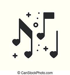 cuore, amore, ballo, note, discoteca, simbolo., theme., club, musica, nightlife, fondamentale, linea parte, segno, icon., elemento