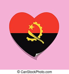 cuore, amore, bandiera, angola