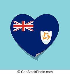 cuore, amore, bandiera, anguilla