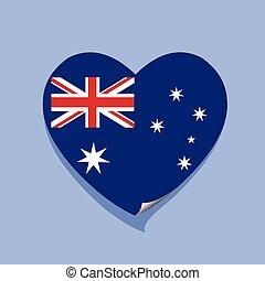 cuore, amore, bandiera, australia