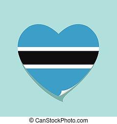 cuore, amore, bandiera, botswana
