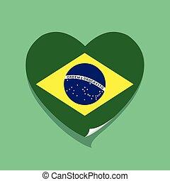 cuore, amore, bandiera, brasile