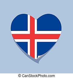 cuore, amore, bandiera, islanda