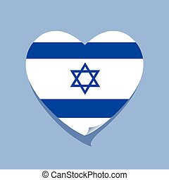 cuore, amore, bandiera, israele