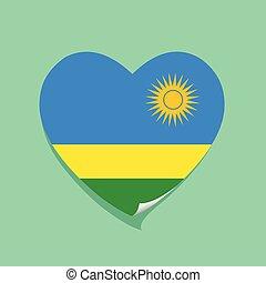 cuore, amore, bandiera, ruanda
