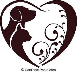 cuore, amore, cane, gatto