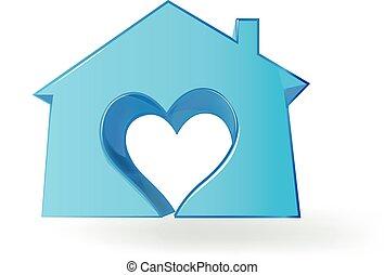 cuore, amore, casa, immagine, logotipo, 3d
