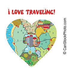 cuore, amore, divertente, viaggiare, mappa, scheda